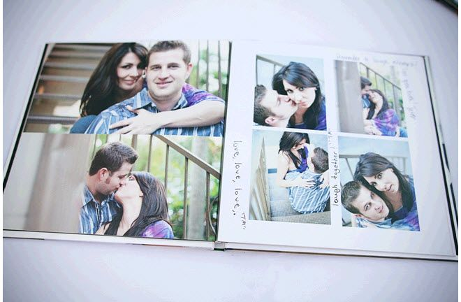 Bride and groom's special photo book served as a guest book on their big day!