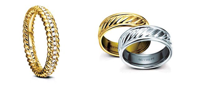 Yellow gold with pave set diamonds engagement ring; platinum and gold wedding bands by David Yurman