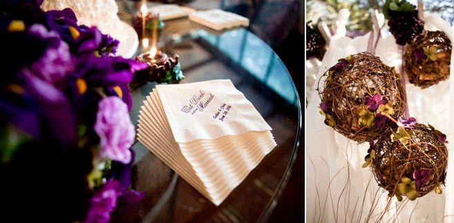 Vibrant rich purple flowers at wedding reception; trig domes hang from tree
