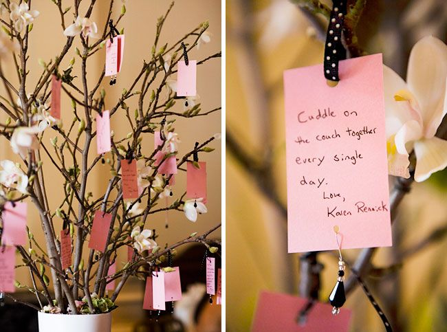 Have each guest sign a little card, and hand from manzanita branches, for your wedding guest book