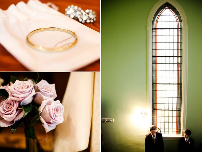 Old church on Chicago's South Side was perfect for this vintage-chic wedding; gold engraved wedding