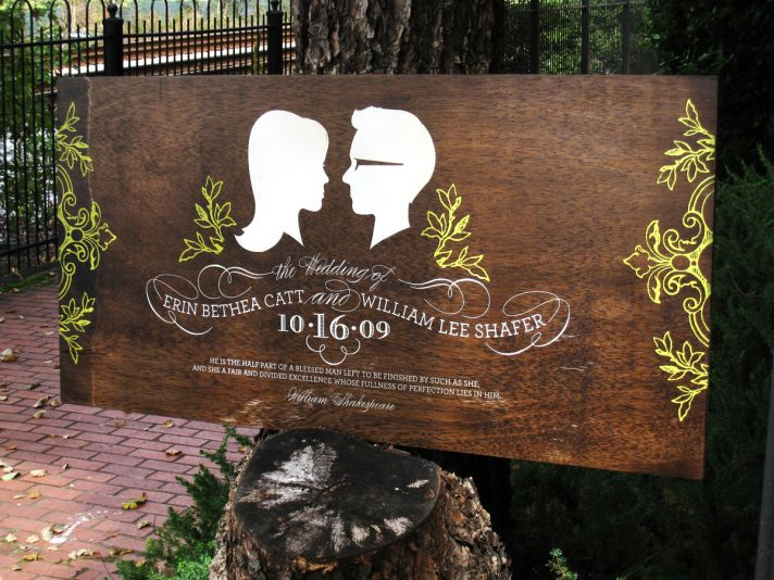 Add a custom touch to your wedding with a handpainted wood wedding sign all about you!