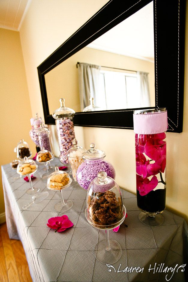 Decadent candy bar perfect for this black and purple glam bridal shower