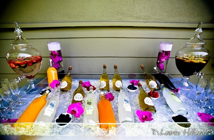 champagne-bridal-shower-brunch-vibrant-purple-orchids-juices