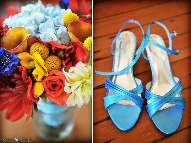 Bright red, yellow, and light blue vibrant bridal bouquet; blue open-toe bridal heels