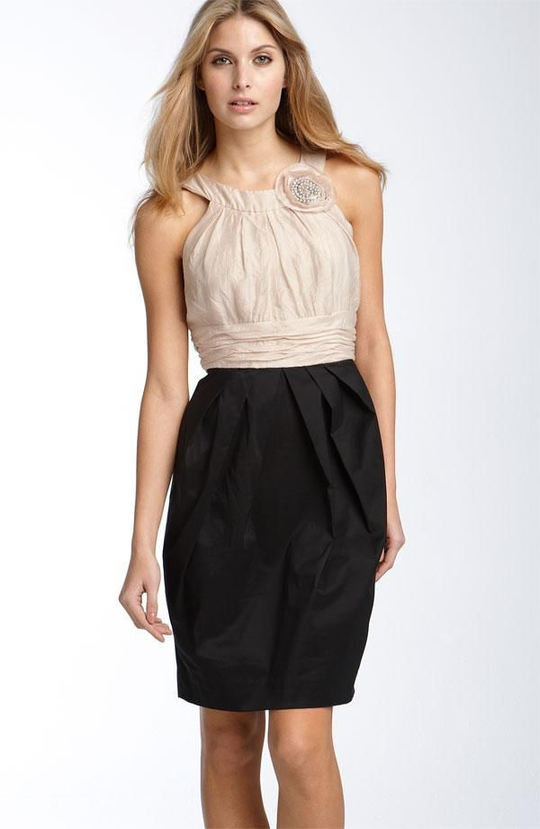 Two tone halter bridesmaids dress in nude and black