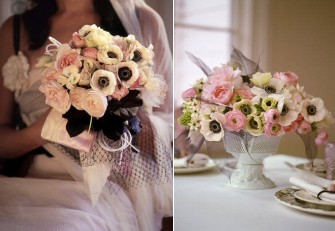 White pink and black sophisticated wedding color palette