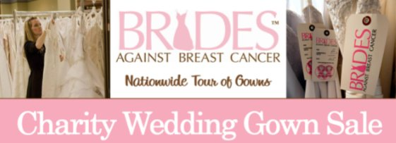 This banner advertises the brides against breast cancer wedding dress sale