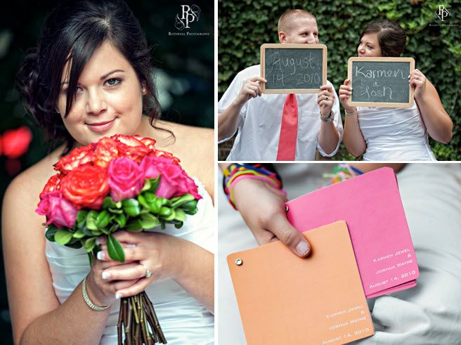 Bride holds bright bridal bouquet with hot pink and orange roses; chalkboards add a personal touch t