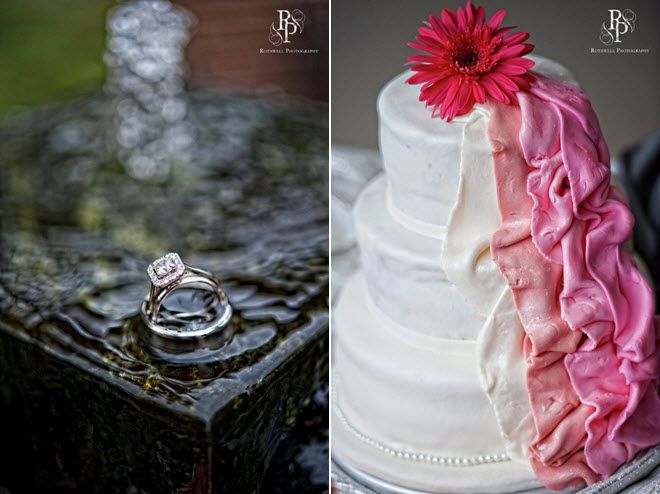 Bride's diamond engagement ring and groom's wedding band photographed in water; white wedding cake w