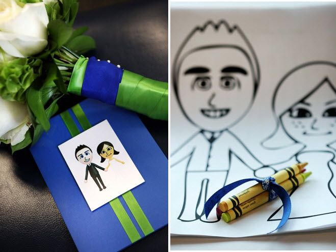 Fun, quirky wedding reception touch- caricatures of the bride and groom, with crayons tied with blue