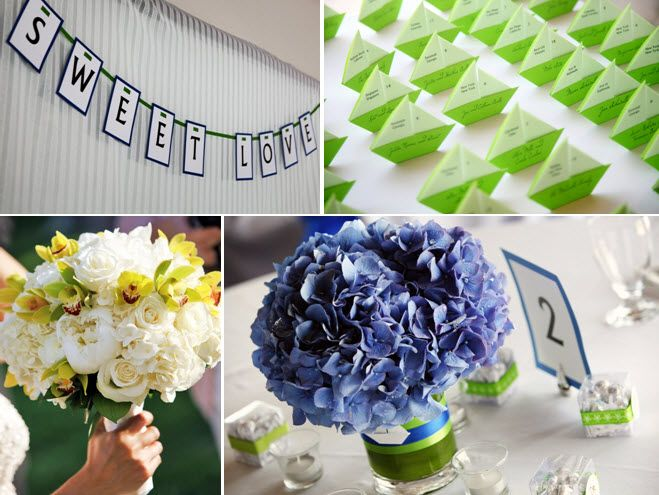 Blue purple hydrangeas for wedding reception floral centerpieces, totally DIY! And lime green escort