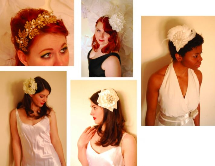 These brides wear amazing wedding hairpieces for a vintage glamour look.