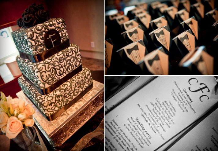 Modern and classic wedding cake- black and white dasmask