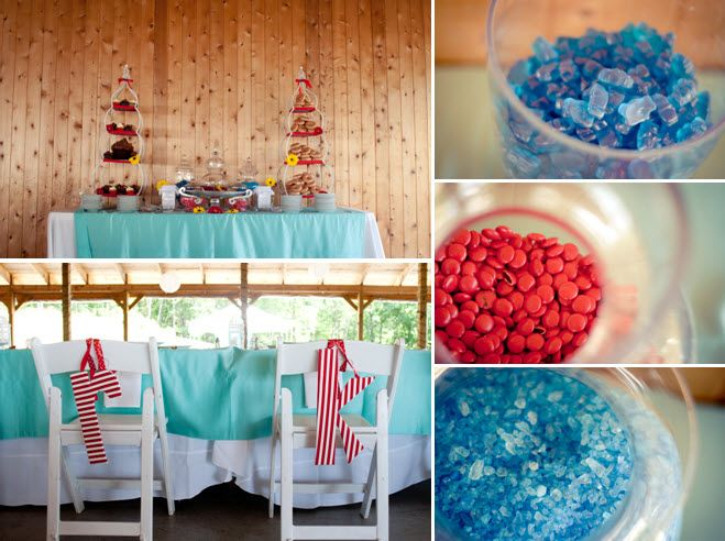 Blue, red and teal wedding reception candy bar; DIY details galore