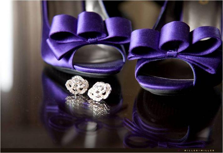 Satin peep-toe bridal heels in deep purple, diamond stud bridal earrings