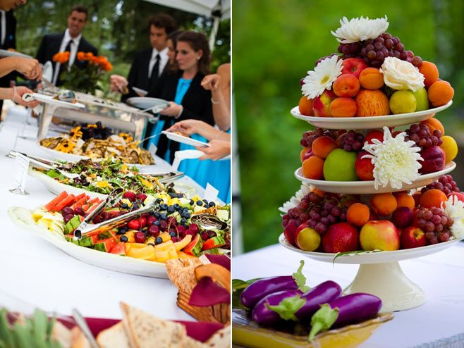 Vibrant and casual buffet-style reception dinner, and lovely fruit tower