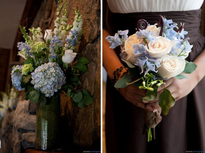Bridesmaids' bouquets made of ivory roses, light blue delph and monkey tails