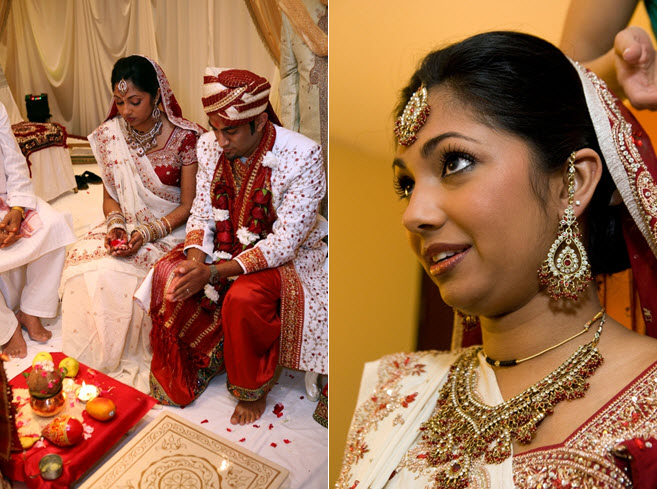 Bride and groom wearing traditional dark red and gold Indian wedding day
