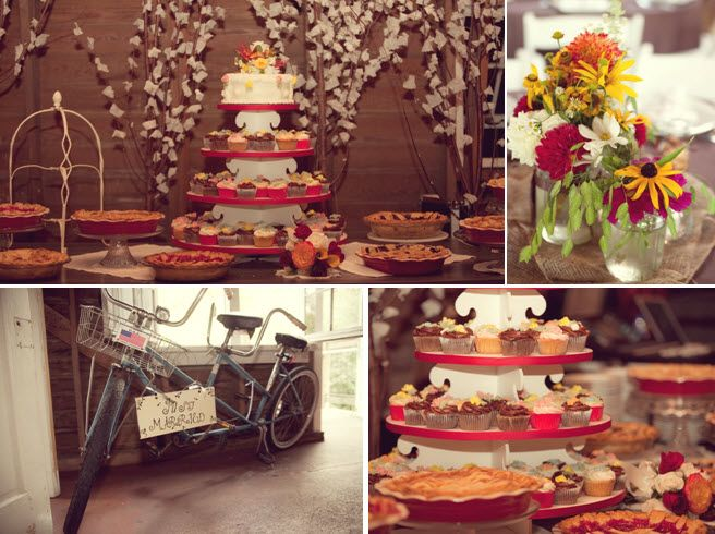 Delicious dessert table at wedding reception with cupcake tree, homemade pies, and simple wedding ca