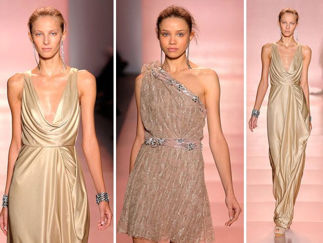 Metallic champagne Jenny Packham dress with plunging cowl neck neckline