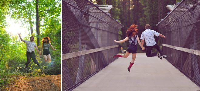 Bride and groom jump around on bridge & in forest outside during e-session in Raleigh, NC