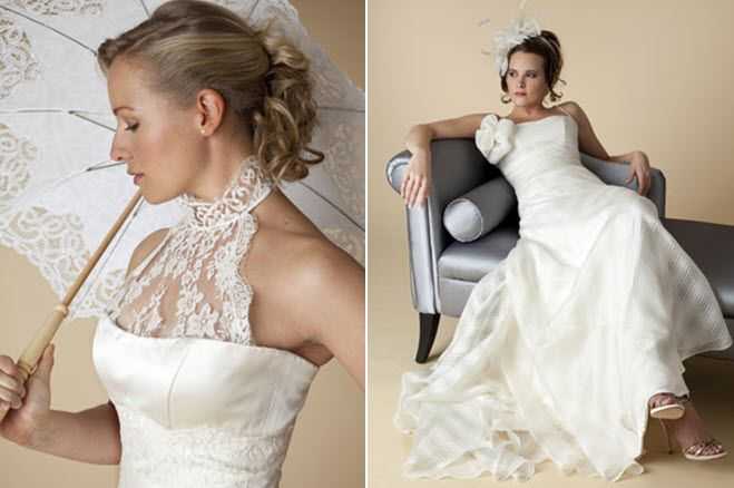 Halter lace wedding dress & lace bridal parasol