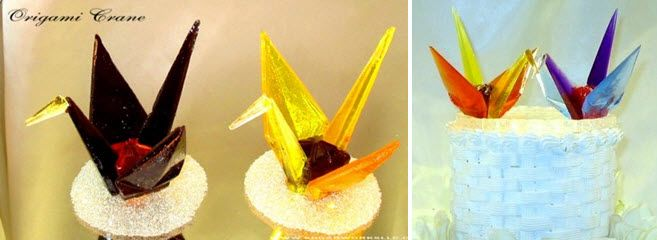 Colorful origami crane cake toppers made from colored sugar