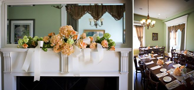 Peach, ivory, green wedding flowers arranged on mantel; antique wedding reception decor at plantatio
