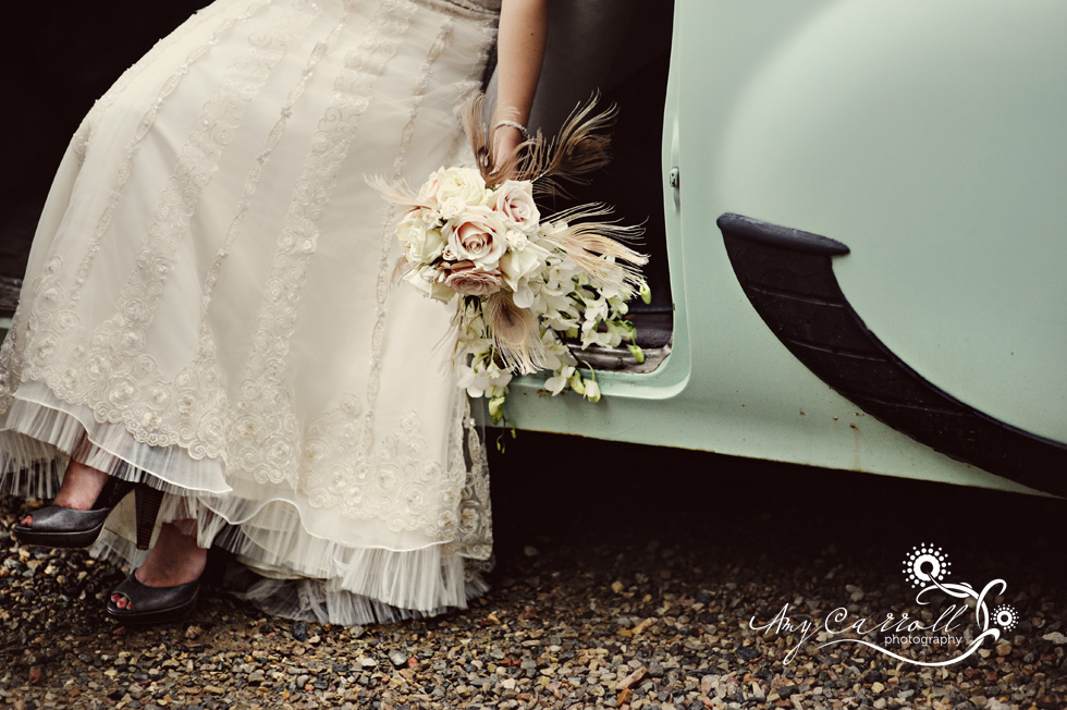 Ivory lace beaded wedding dress brown peeptoe bridal heels unique vintage