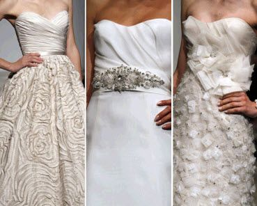Stunning wedding dress embellishments gracing Amsale's Spring 2011 wedding dresses