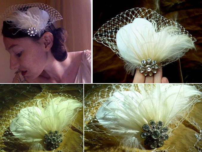 Ivory and cream vintage bridal headpiece with feathers veiling