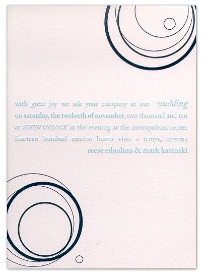 Modern letterpress wedding invitation design
