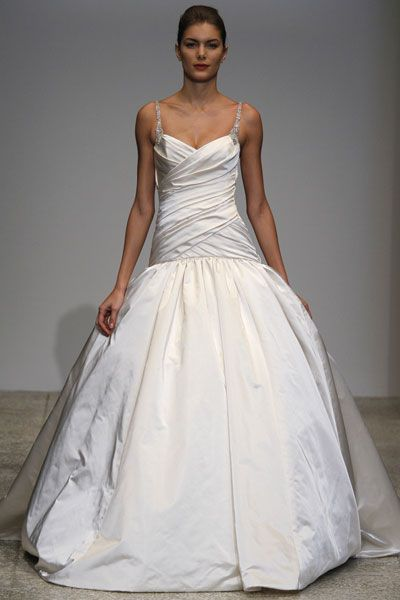 Drop waist Kenneth Pool ball gown with v-neck and jeweled spaghetti straps