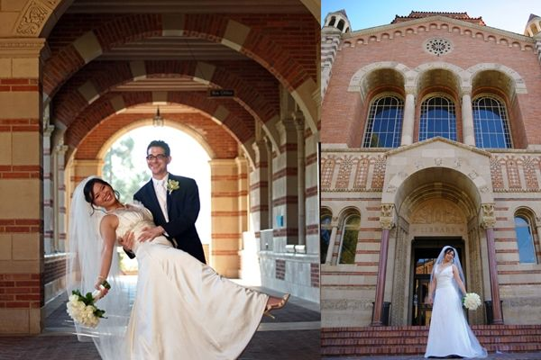 Classic bride and groom pose for wedding photos in front of ancient building of Alma mater