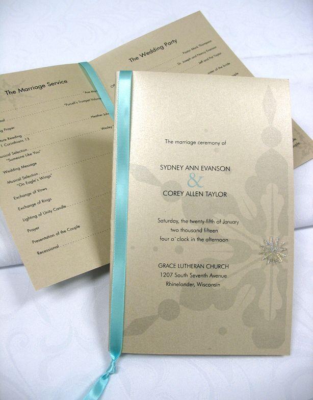 Sleek gold shimmer DIY wedding programs with aqua ribbon