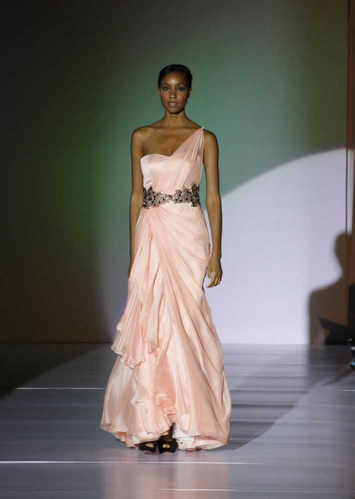 Chiffon one-shoulder full-length bridesmaid dress with statement belt