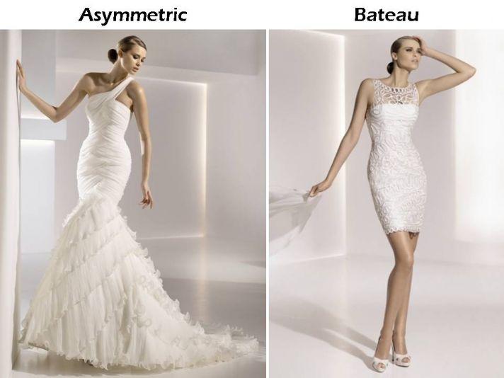 One-shoulder and bateau neck wedding dresses by Pronovias
