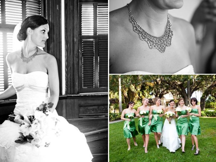 Bride wears white lace strapless wedding dress and sparkly statement necklace