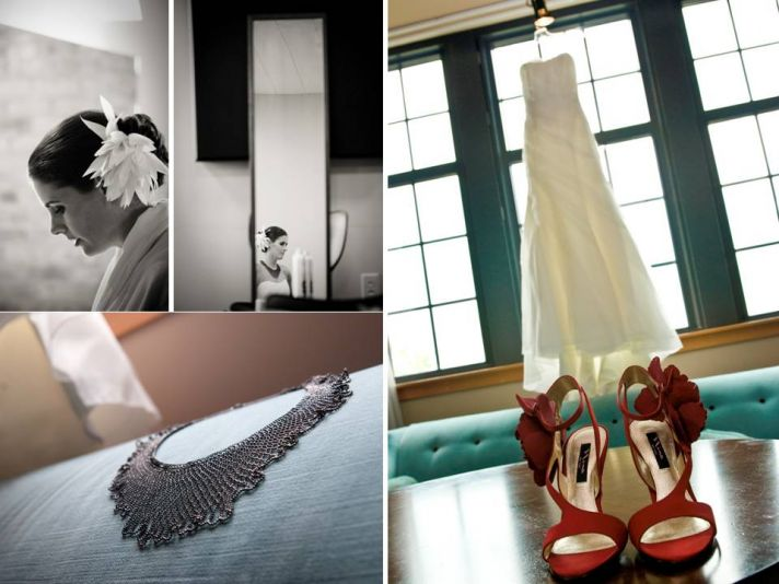 White strapless wedding dress hangs in window with red bridal heels and statement necklace