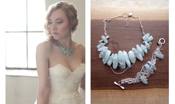 Stunning one-of-a-kind sterling silver bridal necklace with turquoise gemstones