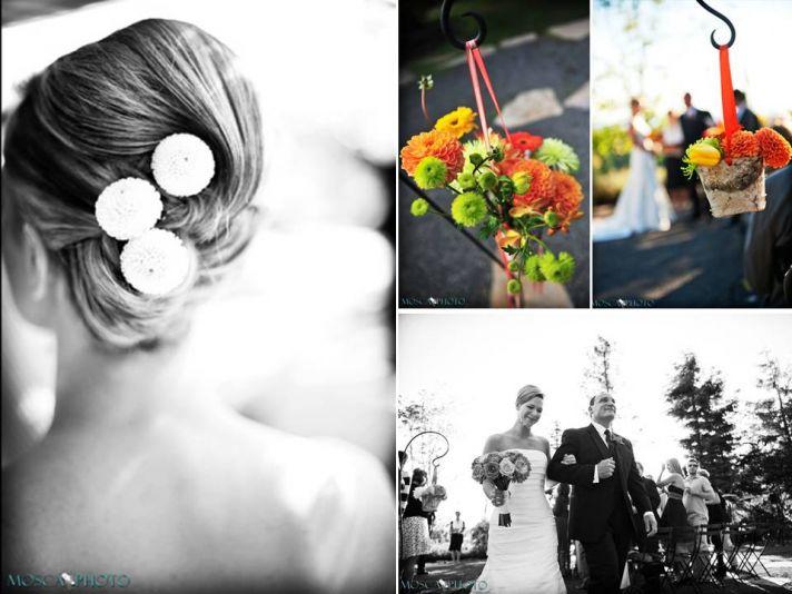 Portland bride wears sleek bridal updo with flirty flowers in back
