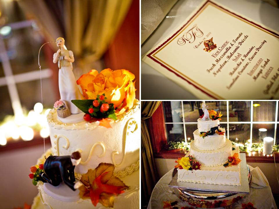 Traditional white wedding cake with fall flowers leaves and fun bride and
