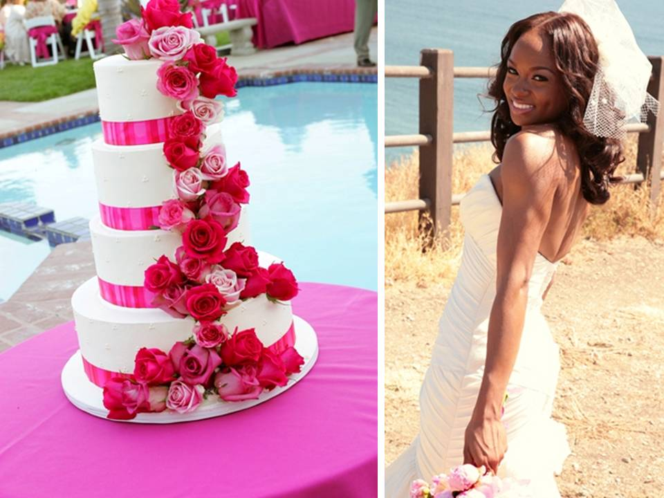 White 4tier stacked wedding cake with hot pink roses