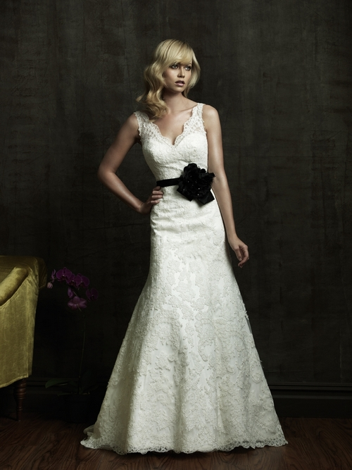 Ivory lace vneck 2011 wedding dress with black bridal belt embellished with