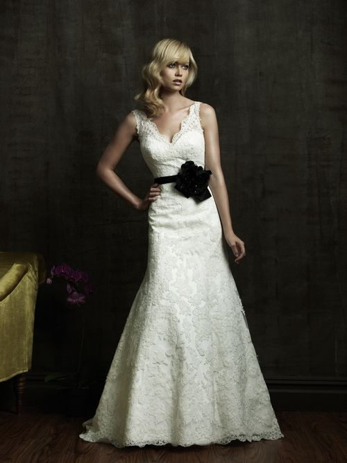 Ivory lace v-neck 2011 wedding dress with black bridal belt embellished with flower