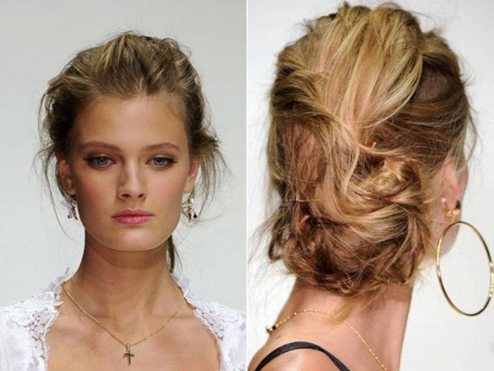 Messy textured updo from Spring 2011 Dolce & Gabbana runway