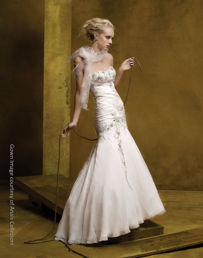 Gorgeous cream silk drop-waist wedding dress with beaded bodice