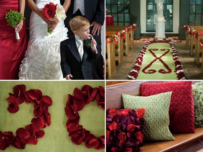 Winter wedding ceremony venue decorated with red rose petals, festive pillows and candy cane touches