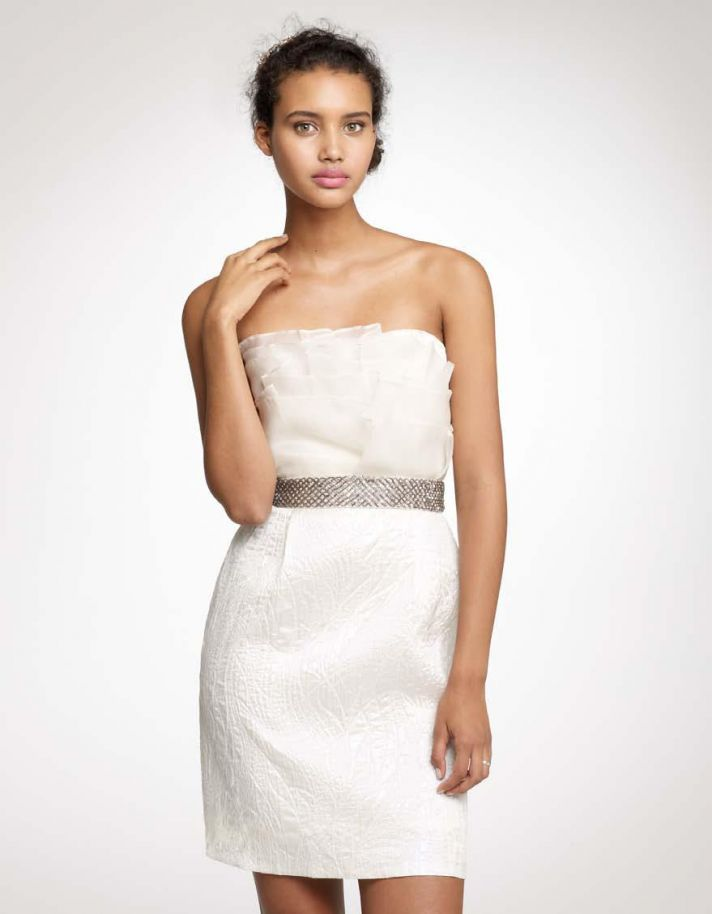White strapless cocktail frock with jeweled belt, perfect for the wedding reception